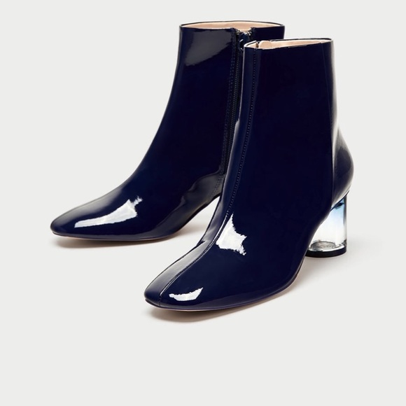 856ebeae5bb ZARA Navy Blue Patent Finish Ankle Boots.
